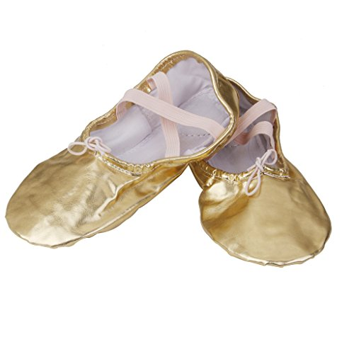Shoes Ballet Gymnastics Leather Dance Gold Pointe Girl Women FgUqw8vx