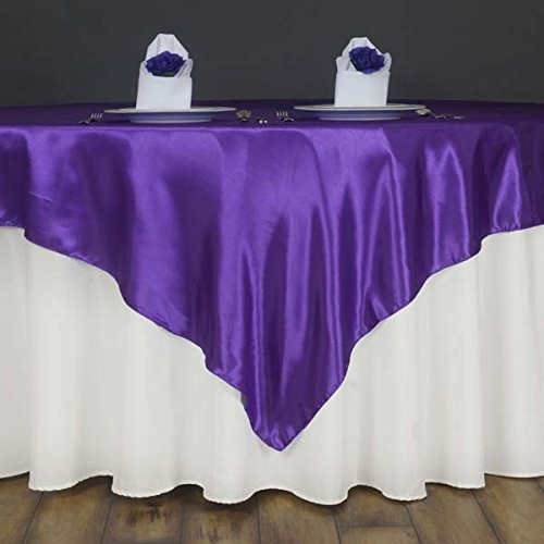 Efavormart 60'' Satin Square Tablecloth Overlay for Wedding Catering Party Table Decorations Purple Square Tablecloth Cover