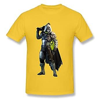 QMY Men's Cartoon Destiny Hunter T-shirts Size XS Yellow