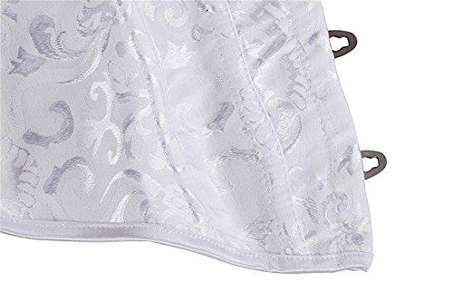 VOLALO Corsé Lace Up Boned Overbust Corset Bustier Waist Trimmers Weiß