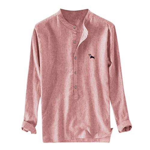 iZHH Shirts for Men Baggy Stripe Embroidery Cotton Linen Long Sleeve Button Plus Size Pullover T Shirts Red