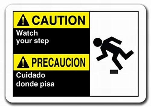 Markil Caution Caution Watch Your Step (Bilingual Spanish) Plastic Safety ansi Wall Decoration Retro Vintage Tin Sign for Bar Coffee Cafe Afternoon Tea Barbecue Shop ()