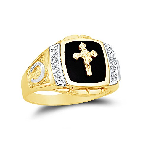 Size - 8 - 14k Yellow Gold Black Onyx Men's Cross Crucifix Horse Shoe Ring