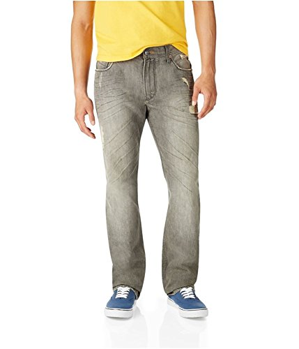 Aeropostale Mens Essex Straight Leg Jeans Grey 32x30