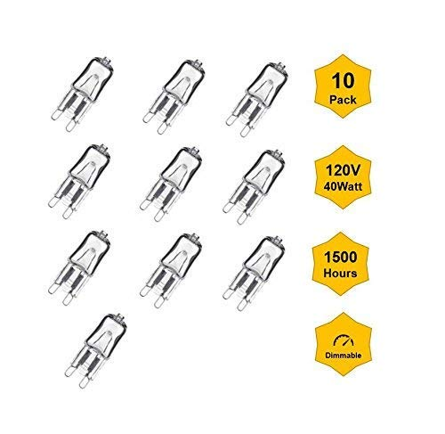 10PK G9-40W 120V Single Ended JCD Halogen Bulbs, Dimmable, Bi-Pin Base, T4 Capsule Type for Pendant Accent Down Lights Chandelier &Sconce Fixtures