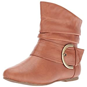 Women's Ankle Booties Buckle Buckle Slouch Flat Heel Strap Fashion Shoes, Tan PU, 8