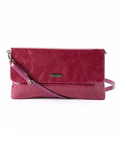 Mllecoco Genuine Real Leather Solid Color Signature Logo Shiny Hardware Interior Mirror Adjustable Shoulder Straps Zipper Closure Clutch Multiple Roomy Pockets Crossbody Handbag (Purple)