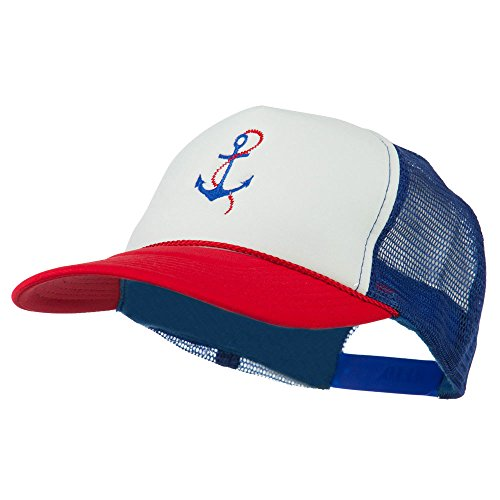 Cap Chain Anchor White (E4hats Anchor with Chain Embroidered Foam Mesh Back Cap - Red White Royal OSFM)