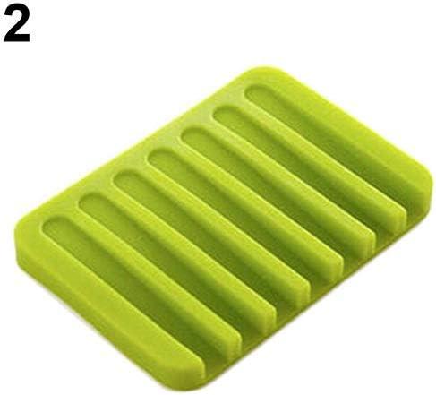 RDBH 1PCS柔軟な浴室シリコーンソープディッシュストレージホルダーソープボックス・プレートは、家庭用Merchandisesファッションソープボックスを排出トレイ (Color : Green)