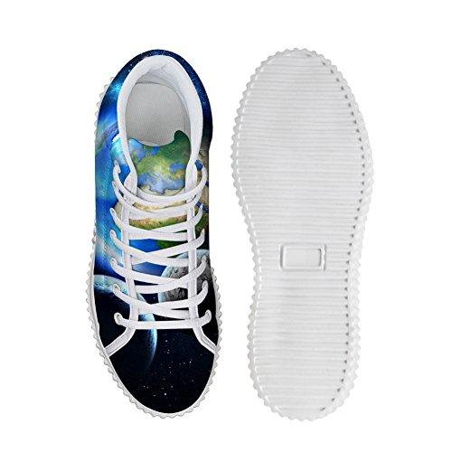 Knuffels Idee Mode Kleurrijke Galaxy Vrouwen Schoenen Platform Sneakers Aarde
