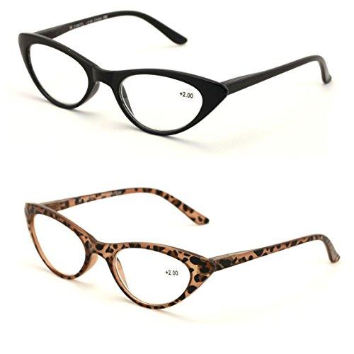 V.W.E. 2 Pairs Deluxe Female Cateye Vintage Reading Glasses Women Readers (1 Black 1 Tortoise, ()