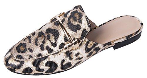 Mocasines Para Mujer, Mocasines Para Mujer Mocasines Sin Respaldo Mocasín Bordado Leopardo Sandalias Leopard