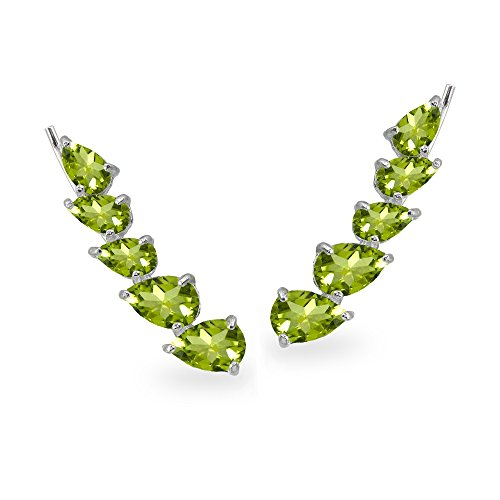 Pear Peridot Bracelet - Sterling Silver Peridot Teardrop Curved Climber Crawler Earrings