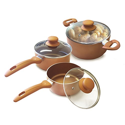 - Homiu Copper Pots With Lids – 6, 7, 9.in Three-Piece Set – Two-Layer Non-Stick Coating - Gas, Electric And Induction Hob Safe – Bakelite Rubber Handle – Aluminium Alloy - 0.09In Thick