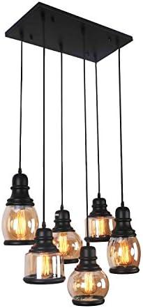 Unitary Brand Antique Black Shade Glass Jar Dining Room Multi Pendant Light Fixture