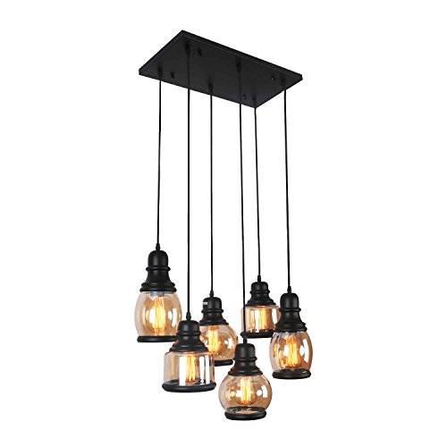 Unitary Brand Antique Black Shade Glass Jar Dining Room Multi Pendant Light Fixture with 6 E26 Bulb Sockets 360W Painted Finish ()