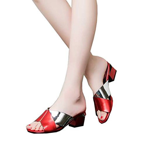 Women's Fight Slippers Women Shoes Women's Autumn Cool Slippers Red With Spring Leather For Thick 38 DFB With And Color Sandals qZt1xWA