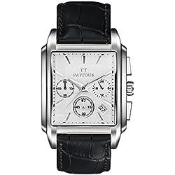 PATTOUS Luxury Men's Black Genuine Leahter Retangle SII Time Module Sports Chronograph Watches