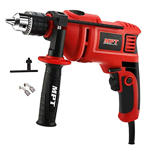 MPT 7.0 Amp 3000Rpm 1/2 In. Corded Hammer Drill for Wood,Concrete and Steel,360 Degree Rotating Handle 2 Speed Gearbox with Multifunction Control