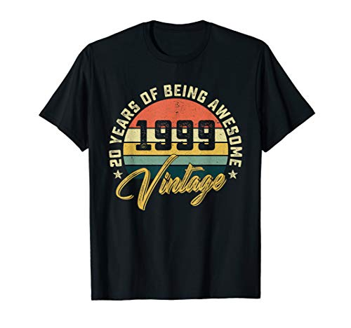 Retro Vintage 1999 T-Shirt 20th Birthday Gifts 20 Years Old