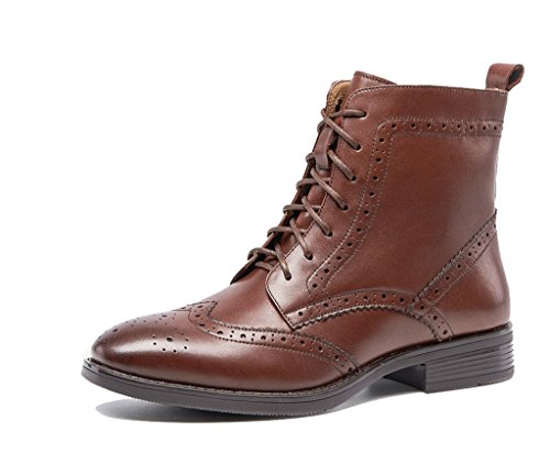 U-lite Women Brown Perforated Brogue lace Leather Oxford Ankle Boots Booties Shoe Shoes Womens 7 br ()