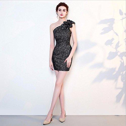 WBXAZL Vestido de Noche, Vestido de Noche, Largo Banquete, Falda Corta, Elegante Temperamento, Vestido, Moda Femenina, Autocultivo. Floral Negro