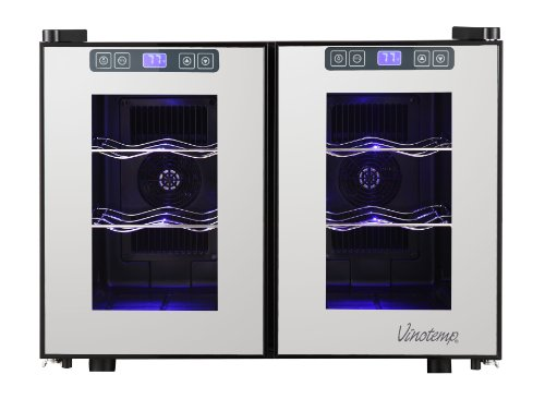 Vinotemp 12 Bottle Dual Zone Thermoelectric Mirrored
