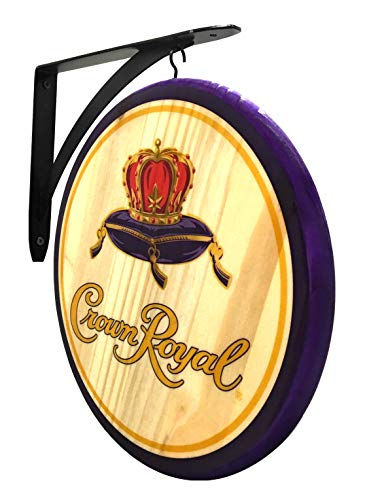 Crown Royal Sign - 2 Sided Wood Pub Sign - 12 inch Diameter -