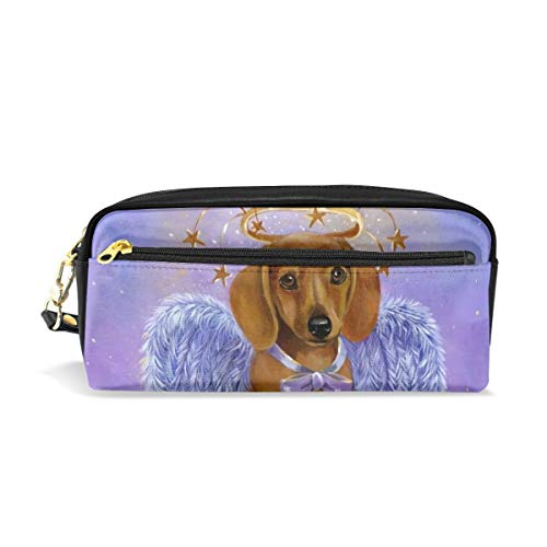 Purple Doxie Angel Dachshund Wings Pencil Pack Organizer Pen Holder Case Cosmetics Glasses Canvas Bag Makeup Pouch Office Box Girls Kid Boy School Gift 2 Pockets Decor ()