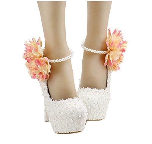 Shoes Flower White Miyoopark Women's Evening 14cm Wedding Bridal Pumps Bridesmaid LL182 Heel EA6zqw8A