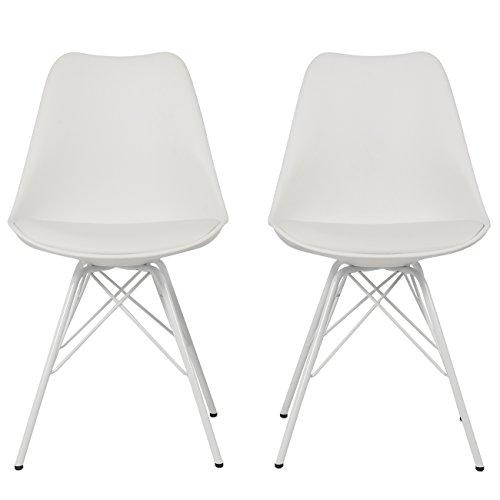 Belleze Premium White Eames DSW Style Molded Plastic Eiffel Retro Dining Side Chair Set of (2)