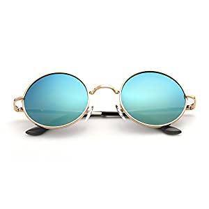 Menton Ezil Fashion Round Style Vintage Sunglasses with Polarized Mirrored Lenses Shiny Eyewear Steampunk Metal Spring Frame Spring with Gold Frame Green Lens