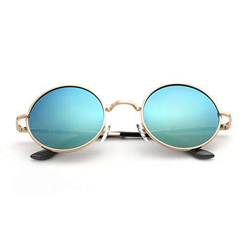 Menton Ezil Fashion Round Lennon Style Vintage Sunglasses with Polarized Mirrored Lenses Shiny Eyewear Steampunk Metal Spring Frame Spring with Gold Frame Green (Steampunk Fashion Male)
