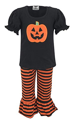 Unique Baby Baby-Girls 2 Piece Halloween Pumpkin Single Ruffle Outfit (5t) Orange