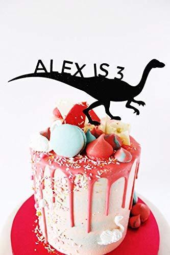 Personalised T Rex Dinosaur Name Age Black Glitter Card Cake