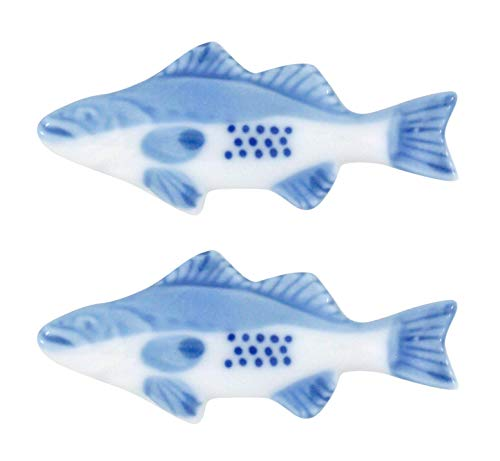 Blue and White Fish Chopstick of Knife Rest Set, 3 Inches, Set of 2 ()