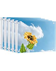 ONE WALL Acrylic Picture Frame, 4x6 5x5 5x7 Inch Magnetic Photo Frame, Double Side Thick Tabletop Frames for Picture & Postcard Display