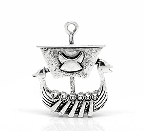 Housweety Silver Viking Pendants 27x22mm