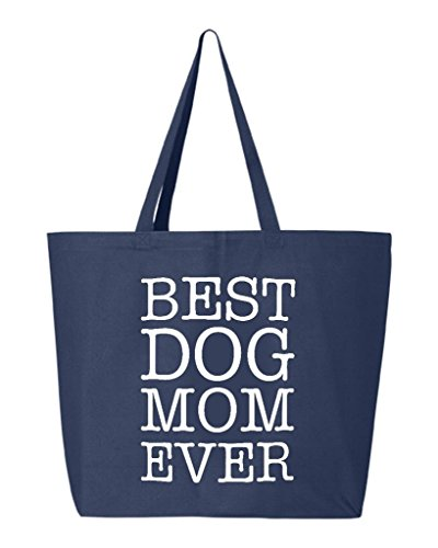 - Shop4Ever Best Dog Mom Ever Heavy Canvas Tote Reusable Shopping Bag 10 oz Navy -Pack of 1- Jumbo