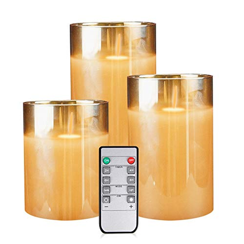 Flameless Led Candles Flickering, YINUO Candle Real Wax Fake Wick Moving Flame Faux Wickless Pillar Battery Operated Candles with Timer Remote Glass Effect