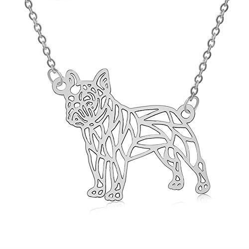 PANGRUI Exquisite Delicate French Bulldog 3D Laser Cut Dog Pendant Necklace (Silver) ()