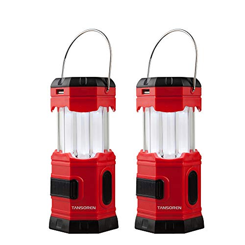 TANSOREN 2 PACK Portable LED Camping Lantern Solar USB Rechargeable or 3 AA Power Supply, Built-in Power Bank Compati Android Charge, Waterproof Collapsible Emergency LED Light with'S' Hook