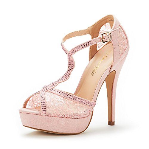 DREAM PAIRS Women's Swan-16 Pink Fashion Stilettos Peep Toe Pump Heeled Sandals Size 9.5 B(M) US