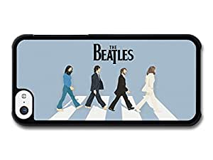 The Beatles Abbey Road Walk Illustration Blue Background carcasa de iPhone 5C