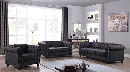 Cheap U.S. Livings Lilyana Modern Living Room Sofa Set (Sofa, Loveseat, Chair, Charcoal)