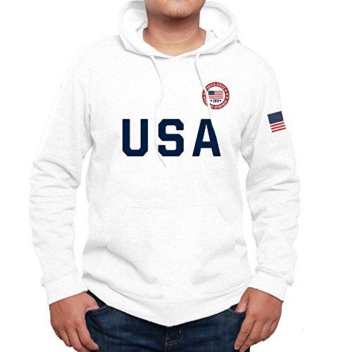 - USA 2018 Athletics Department American Flag Sporty Men's Hoodie Fleece Pullover