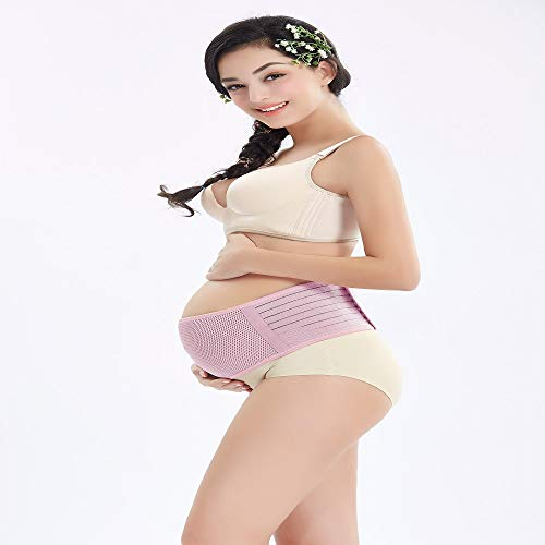 Maternity Support Belt Breathable Pregnancy Belly Band Abdominal Binder Adjustable Back/Pelvic Support (Pink XL)
