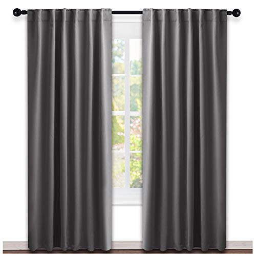 NICETOWN Blackout Curtain Panels Window Draperies - (Grey Color) 52x84 Inch, 2 Pieces, Insulating Room Darkening Blackout Drapes for Bedroom by NICETOWN