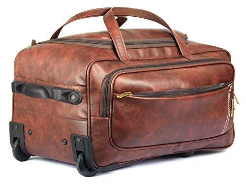 The Clownfish Marquess 49 liters Faux Leather Duffel Travel Duffle Trolley Bag with Wheels  Cinnamon