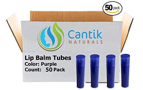 Lip Balm Containers, 50 Purple Chapstick Tubes, BPA Free, Make Your Own Lip Gloss - 0.15oz, Made In the USA ()